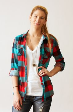 Mint and red plaid button down with roll up sleeves. #May23Online