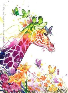 Rainbow colored Giraffe painting with butterflies. 80 Easy Watercolor Painting Ideas for Beginners Painting & Drawing, Watercolor Paintings, Watercolor Images, Painting Abstract, Giraffe Art, Giraffe Painting, Cartoon Giraffe, Giraffe Pattern, Elephant Art