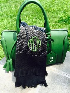 The Green is so hot for Fall 2015. Check out Initials Inc Signature Gold Satchel in Emerald and the Ombre Scarf - perfect fall/winter accessory for 2015. Shop now at http://www.myinitials-inc.com/MARCIA
