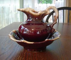 McCoy Pottery Brown Drip Pitcher & Bowl Set on eBay!