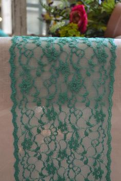 Turquoise Lace Table runner wide and FT length/Ends cut not hemmed/free sample swatch/green Turquoise wedding/wedding reception Country Wedding Decorations, Rustic Wedding Centerpieces, Wedding Themes, Free Wedding, Trendy Wedding, Wedding Blog, Wedding Reception, Teal Table, Fingerprint Wedding