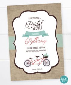 Bicycle bridal shower invitation couples shower bicycle invitation bicycle bridal shower invitation couples shower bicycle invitation tandem bike built for two printable digital file filmwisefo Choice Image
