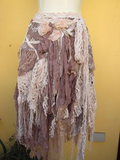 vintage inspired  wrap skirt/shawl...a work of art and love...50 inches across...medium to large... $105.00, via Etsy.