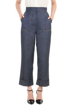 1950s 1960s style crop jeans. Wid elegs, cuffed hem. Plus sizes too. eShakti Womens High waist chambray denim pants $39.95 AT vintagedancer.com