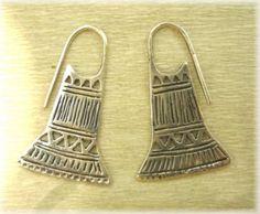 Mapuche  pendientes de plata 925 chaguai - aros estilo mapuche plata 925 calado,cincelado