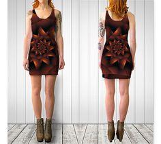 """Bodycon dress """"Burnt Orange Dark Spiral Fractal """" by Kitty Bitty"""