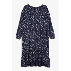 Monki Maximal dress ($7.83) ❤ liked on Polyvore featuring dresses, print perfection, print dresses, pattern dress, frill dress, blue pattern dress and flouncy dress