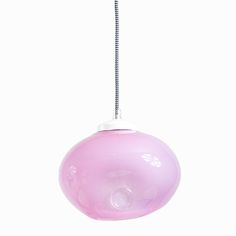 GLASS LAMP pastel pink. A charming addition to your home, this glass hanging lamp is crafted by hand and features a coloured finish that may vary among the products.