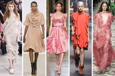 Spring 2016 fashion trend - Ruffles From left to right: Marques'Almeida, J. Anderson, Luisa Beccaria, Lanvin, and Gucci Source by 2016 fashion Summer 2016 Trends, Trends 2016, 2016 Fashion Trends, Spring 2016, Petite Fashion, High Fashion, Womens Fashion, Fashion Colours, Colorful Fashion