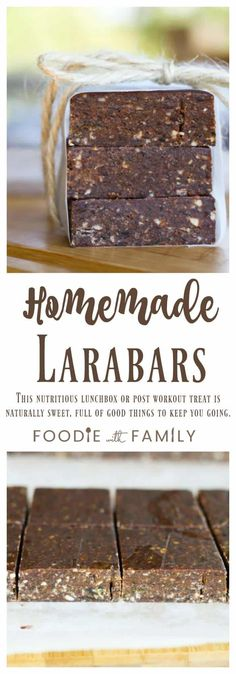 Homemade Larabars: This super nutritious, delicious lunchbox or post workout snack tastes more like candy bars than health food! Source by Weight Watcher Desserts, Whole Food Recipes, Snack Recipes, Dessert Recipes, Healthy Recipes, Mini Desserts, Homemade Larabars, Granola Barre, Lara Bars