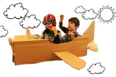 DIY Cardboard Airplane in Action Airplane Kids, Airplane Party, Planes Birthday, Birthday Fun, Time Flies Birthday, Rainy Day Activities For Kids, Diy Cardboard, Cardboard Airplane, Do It Yourself Crafts