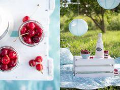 Vintage-Picknick und Cherry Cheesecake in a Jar
