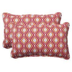 Outdoor 2-Piece Rectangular Toss Pillow Set - Red/Orange Geometric