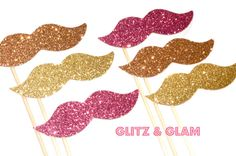 Glitz & Glam Glitter Mustache Collection - Set of 6 - Pink, Peach, and Gold Glitter Staches on Etsy, $12.00