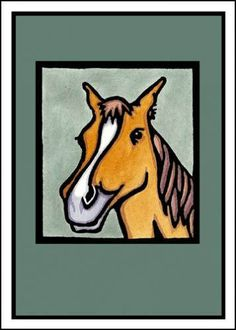 $2.95 Pretty Pony - Single Blank Sarah Angst Greeting Card - For the Horse Lover by SarahAngstArt on Etsy #sarahangstcards