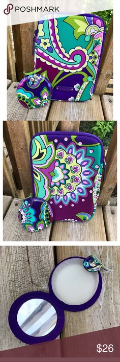 Heather duo 😊💚💜 The e-reader sleeve fits the iPad mini and other small tablets, and is in perfect condition. The pocket mirror is NWT! Vera Bradley Accessories Tablet Cases