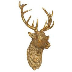 Large Antique Stag Head Wall Ornament, Gold