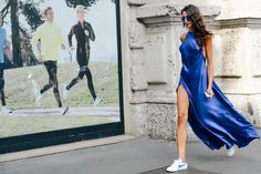 Sarah Nicole Rossetto. liquid cobalt dress with matching kicks and sunglasses.