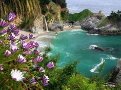 The McWay Falls, California State Park, USA. One of the most gorgeous of the natural Big Sur Waterfalls and the only waterfall on the California Coast that falls directly into the Pacific Ocean.