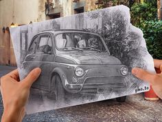 Creative picture with a stylish car edited with pencil vs camera effect