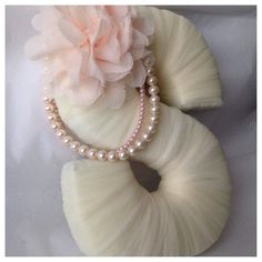 tulle wrapped letter S ivory pearls custom orders by StudioLoveH