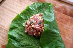 Stuffed Collard Greens; GAPS Free Paleo Recipes; Paleo; PrimalPalate.com No pine nuts/replace with sunflower or hemp seeds.