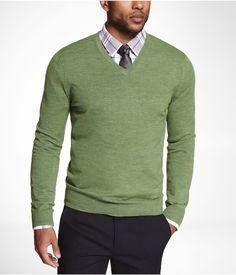 MERINO WOOL V-NECK SWEATER -- Grass Green -- S or XS