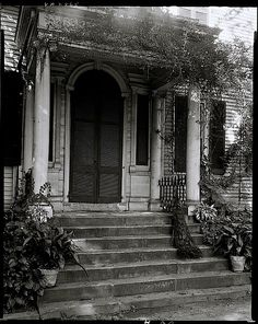 The Sunday porch/enclos*ure: a peacock on the steps of Federal Hill, Fredericksburg, VA, about 1928, by F.B. Johnson, via Library of Congress