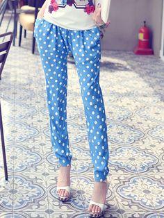 Blue Polyester Sweet Straight Leg Pants