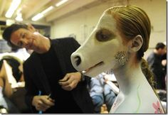 Body Painting/Prosthetics at Denver Fashion Weekend #horse #prosthetic #make-up SFX prosthetics and accessories