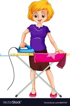 Woman ironing clothes on the ironing board vector image on VectorStock Cute Cartoon Drawings, Cartoon Pics, Cute Cartoon Wallpapers, Cartoon People, Flashcards For Kids, School Clipart, Seascape Art, How To Iron Clothes, Preschool Activities