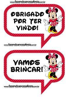Plaquinhas Divertidas da Minnie Vermelha:
