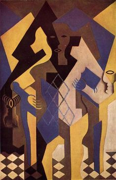 """artist-gris: """" Harlequin at a Table, Juan Gris Size: cm Medium: oil, canvas"""" Georges Braque, Rene Magritte, Spanish Painters, Spanish Artists, Pablo Picasso, Synthetic Cubism, Francis Picabia, Cubism Art, Cubist Drawing"""