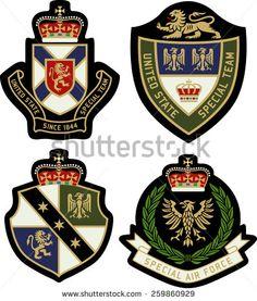 classic heraldic royal emblem badge shield - stock vector