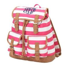 Picture of Pink Stripe Campus Backpack Perfectly sized backpack. Chic and stylish
