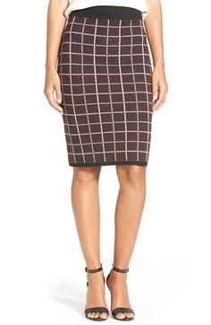 Halogen® Windowpane Check Knit Pencil Skirt (Regular & Petite) available at #Nordstrom