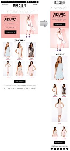 Responsive email design from Missguided
