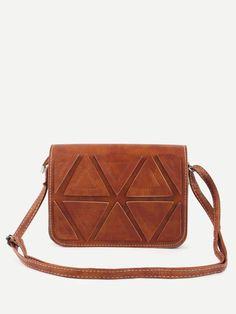 #AdoreWe #SheIn Bags - SheIn Camel Triangle Patch Flap Bag - AdoreWe.com