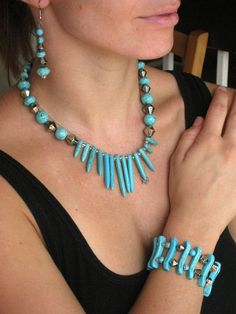 Original Turquoise set of three pieces Neclace by mapiebijoux, $85.00