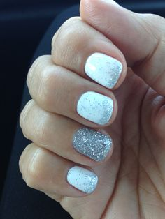 Summer sparkle white gel nails!