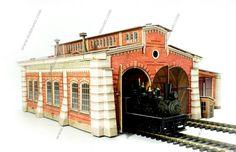 Locomotive shed cardboard model H0 scale 1/87 buy online