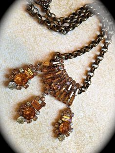 Amber vintage statement necklace by JNPVintageJewelry on Etsy, $149.00