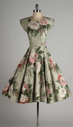 1950's Sequin Metallic Barkcloth Floral Dress   vintage 50s print