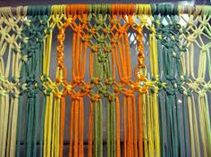Keep out the flies with this ultra-fashionable Zpagetti door hanging! Another fabulous way of using Zpagetti in your home! Macrame Wall Hanging Diy, Macrame Curtain, Macrame Tutorial, Macrame Projects, Fabric Strips, Macrame Patterns, Crafts, Wall Hangings, Caravan