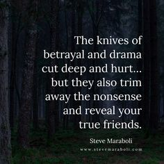 The knives of betrayal and drama cut deep and hurt... but they also trim away the nonsense and reveal your true friends. - Steve Maraboli