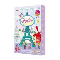 Laisse-toi surprendre par les merveilles de Paris ! Tu découvriras les monuments les plus célèbres de la capitale de la France : connais-tu la taille de la tour Eiffel ? Sais-tu comment a été construite la pyramide du Louvre ? Regarde les flèches de Notre-Dame, promène-toi sur les Champs-Élysées, monte dans les Bateaux-Mouches et... goûte aux traditionnels macarons ! Complète le puzzle et retrouves-en tous les éléments dans le fantastique livret consacré à la grande Ville Lumière ! Avec un…