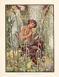 """""""Sweet, piercing sweet was the music of Pan's pipe"""" depiction of Pan (by Walter Crane) The story of Greece : told to boys and girls Illustrated by WALTER CRANE Macgregor, Mary (author) Walter Crane, Pan Mythology, Greek Mythology, John Everett Millais, Art Database, Green Man, Greek Gods, Gods And Goddesses, William Blake"""