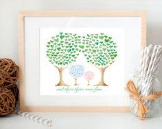 Printable - And then there were four family brother sister sweet heart tree watercolor wall art print nursery kid's room baby shower gift on Etsy, $6.00