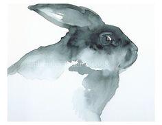 Blackie black rabbit Art by amberalexander on Etsy, $20.00