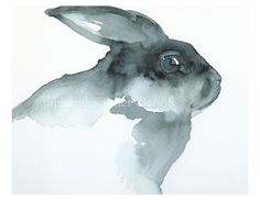 Rabbit watercolor. Most of the men in my life have had an affinity for rabbits. And who doesn't like the esthetic of gray scale art work?